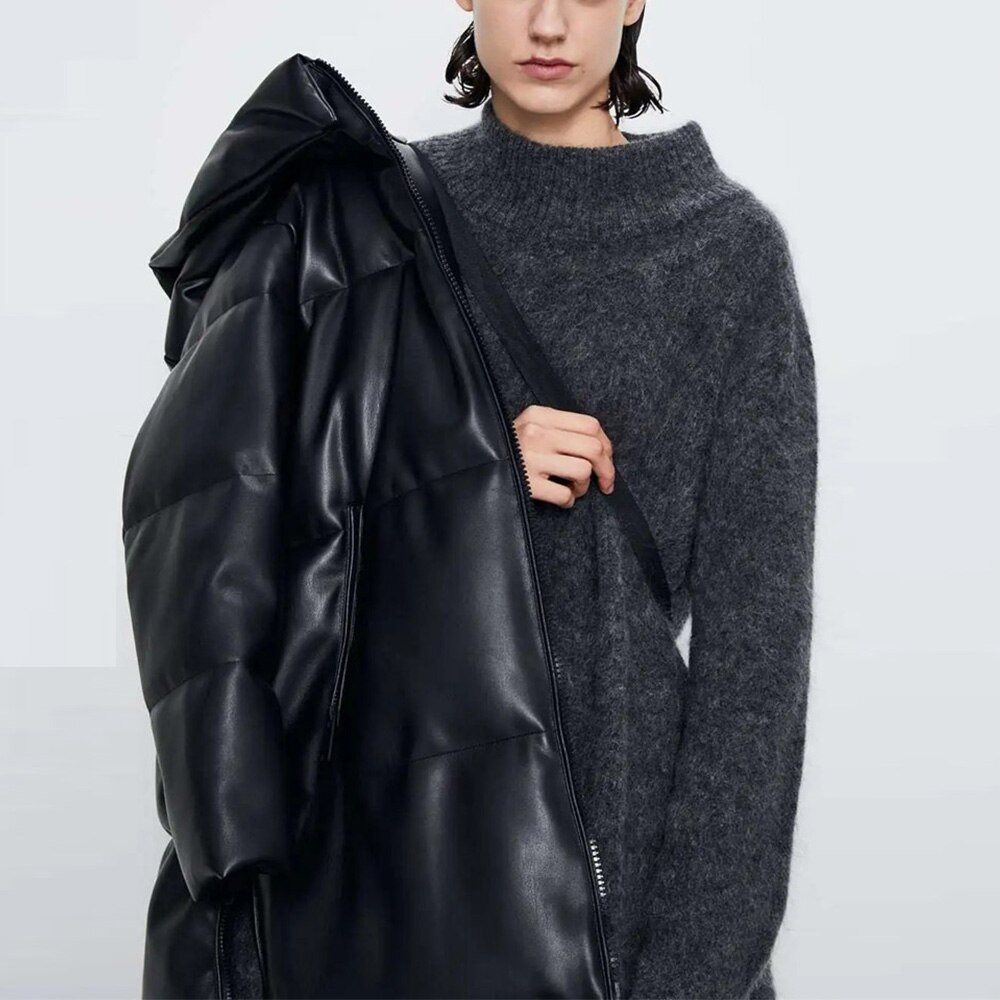 2020 Winter Women Pu Leather Long Hood Parkas Thick Pocket PU Overcoat Black Highstreet Outwear Autumn Warm Woman Clothing Fall enlarge