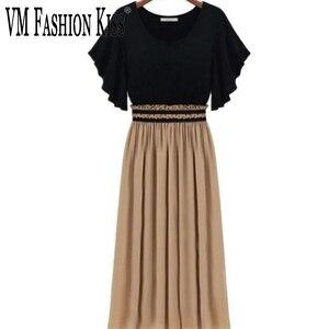 Шифоновые платья с вышивкой в европейском и американском стиле, контрастные цвета, Полиэстеровые платья большого размера плюс, женские платья 2020