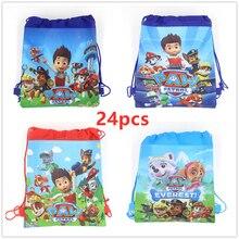 24pcs Paw Patrol Theme Non-woven Fabrics of Bag Drawstring Backpack Gift Bag Storage Bag boy favor school bags Party supplies