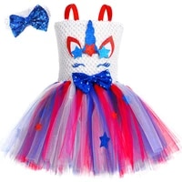 red blue white girls unicorn tutu dress with bow hairband independence day 4th of july costume for kids carnival party dresses