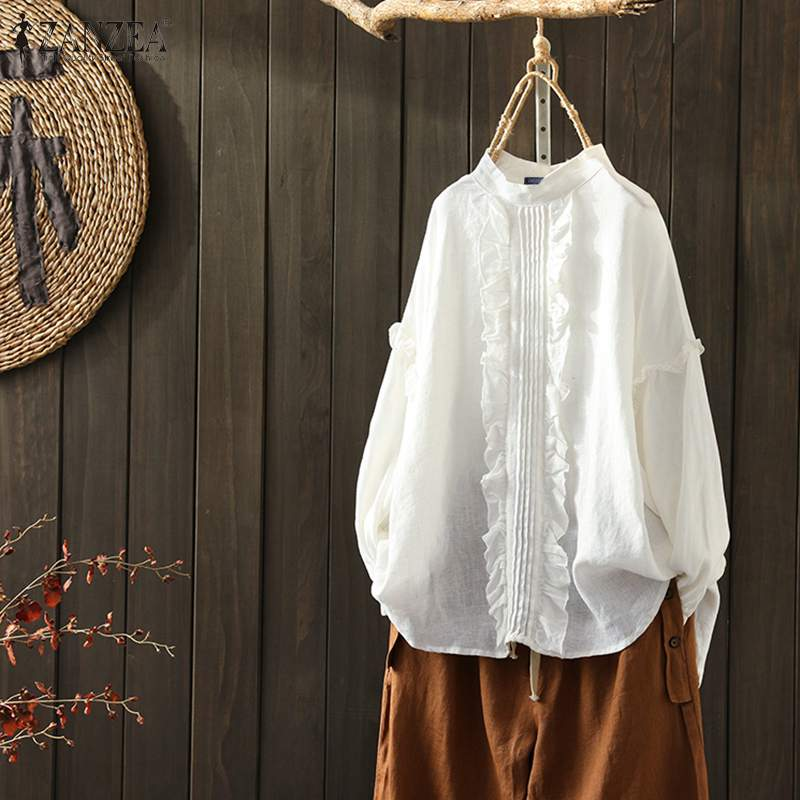 ZANZEA primavera manga larga volantes blusa mujer algodón Lino camisas Vintage sólido volantes Blusas sueltas de talla grande Chemise 7
