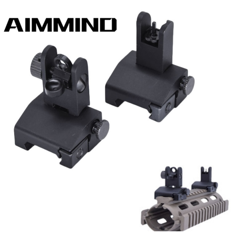 Фото - 1 Pair Adjustable Low Profile Metal Flip Up Front Rear BUIS Metal Floding Backup Iron Sight for Rifle Hunting folding tactical flip up sight rear front sight mount transition backup iron sight rapid rifle rts for paintball accessories