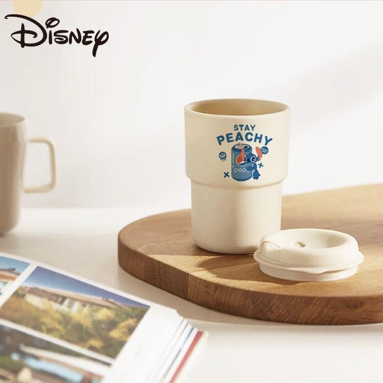 ديزني غرزة الكرتون فنجان القهوة بهلوان البلاستيك طبقة مزدوجة المحمولة سطح المكتب المشروبات كوب ماء مثلج فنجان القهوة