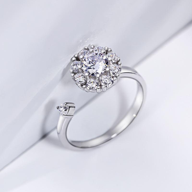 Luxo floco de neve ring100 % real 925 prata esterlina casamento anel banda cz zircão girando anéis de dedo anéis de noivado para mulher