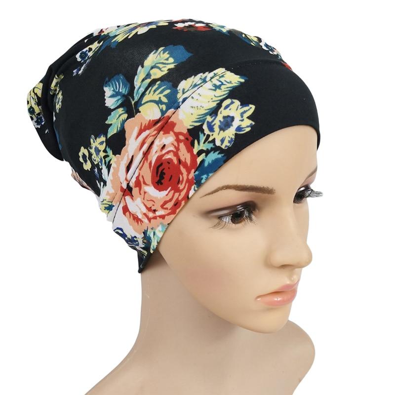 Muslim inner hijab caps for women modal printed India wrap head scarf turban bonnet fashion flowers underscarf hijabs cap