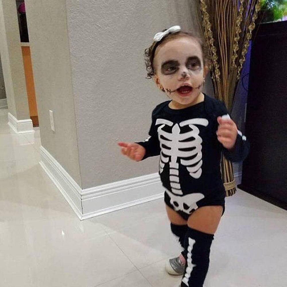 Conjunto de ropa para niños Pelele con cuello en o Appliques Skull Skirt Leggings conjunto de ropa de Halloween ropa para bebés y niñas 10,9