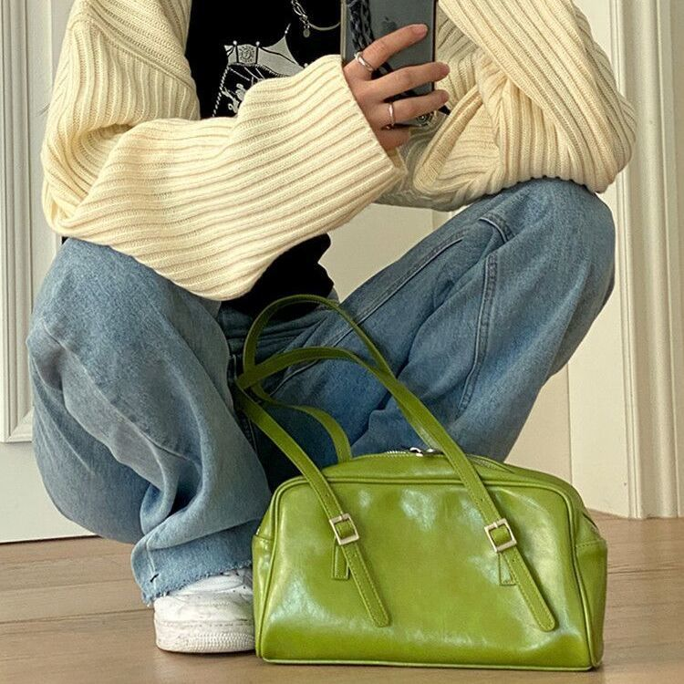 Summer Fashion Women Green Big Shoulder Bags PU Leather Female Purse Handbags Large Capacity Ladies Daily Small Casual Tote pu leather women underarm bag handbags large capacity ladies daily small casual tote fashion solid color female shoulder bags