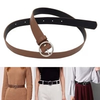 newest women faux leather belt jeans belts for women dresses with classic round buckle