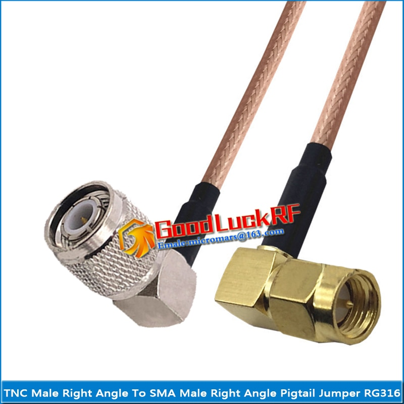 1x pcs high quality sma male to rp sma rpsma rp sma male plug coaxial pigtail jumper rg316 cable gold low loss sma to rpsma 1X Pcs TNC Male Right Angle to SMA Male 90 Degree Right Angle Coaxial Type Pigtail Jumper RG316 Cable SMA to TNC Low Loss