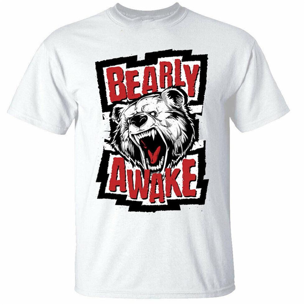 Camiseta Bearly Awake para hombre, divertida camiseta blanca con figura de oso soñoliento