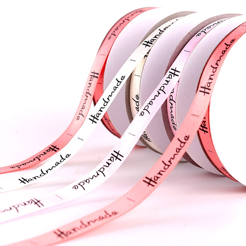 10mm 5Yards Handmade Letter Satin Ribbons Wedding Festival Party Decorations DIY Handmade Bow Craft Card Gifts Wrapping Supplies