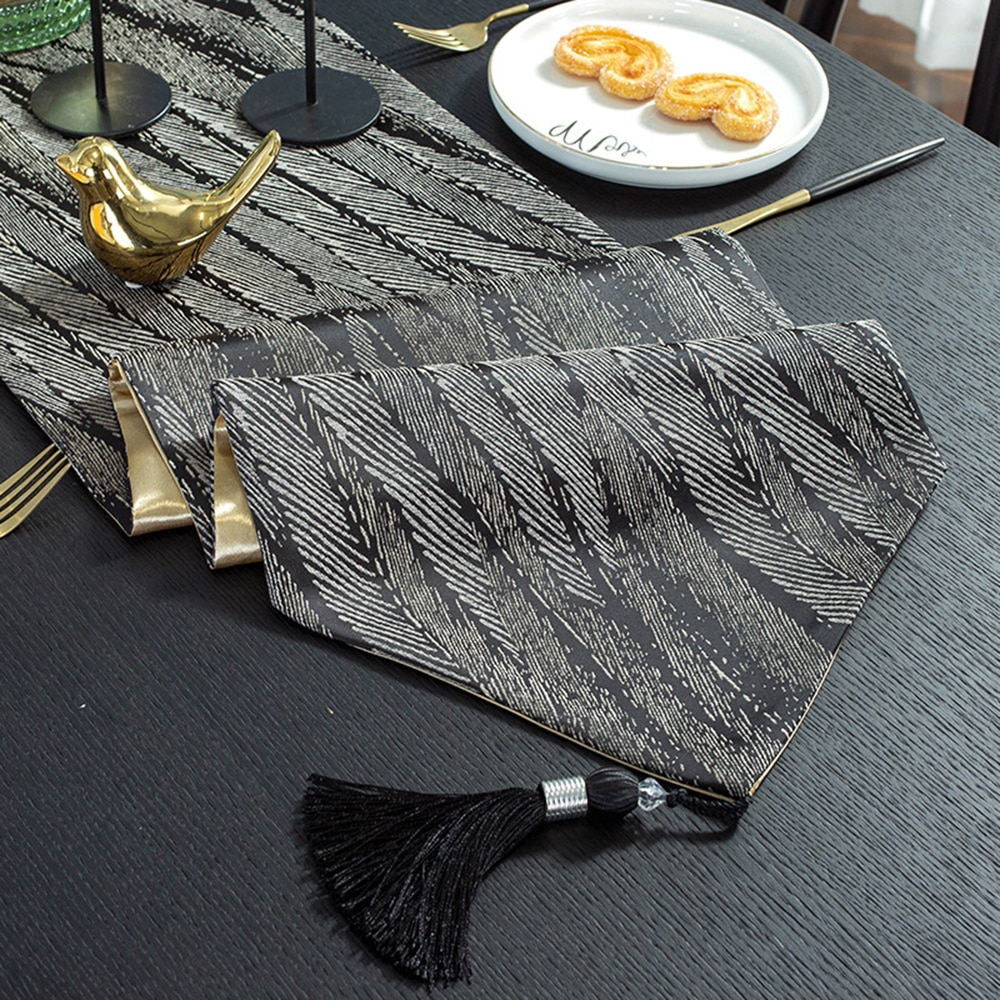 American Style Dining Table Decor Luxury Tassel Runner Home Wedding Party Decorative Polyester Runners Modern Gray