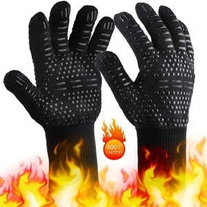 2pcs BBQ Grilling Cooking Gloves Extreme Heat Resistant Oven Welding Gloves High Quality Kitchen Barbecue Glove Preventor 1Pair