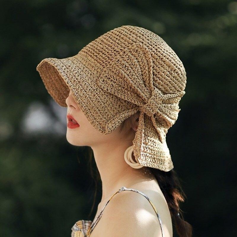 2021Raffia Bow Sun Hat Wide Brim Floppy Summer Hats For Women Beach Panama Straw Dome Bucket Hat Femme Shade Hat braided tassel floppy felt hat