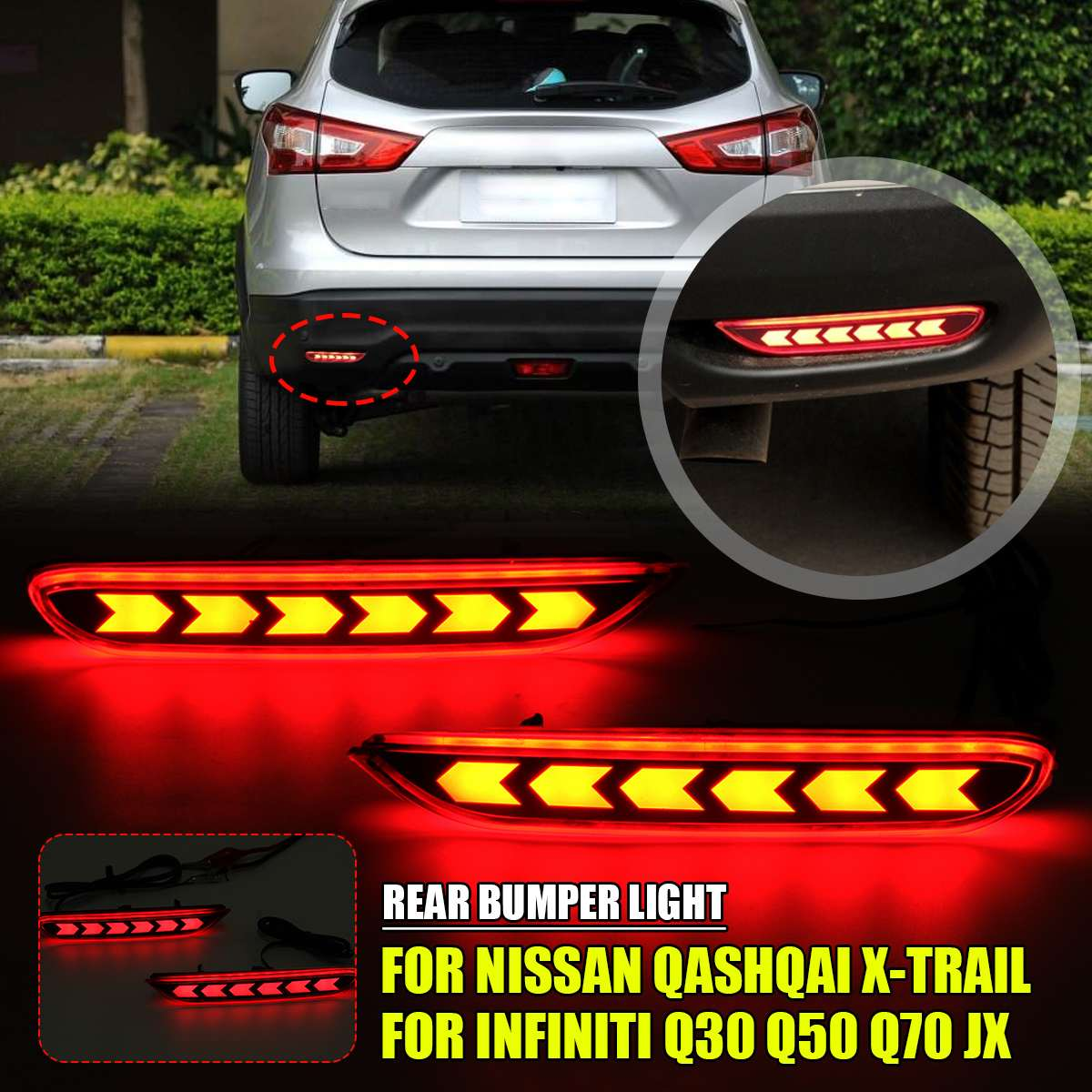 Par de Reflector de parachoques trasero para conducción de luz antiniebla para Nissan Qashqai x-trail Teana Altima Luz de Freno Led para Infiniti Q50 Q70 QX30 JX