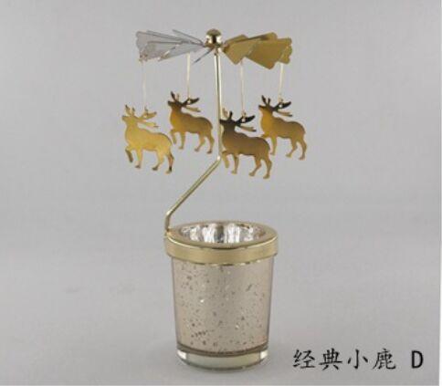 Candlesticks Rotating Romantic Rotation Spinning Carrousel Tea Light Candle Holder Christmas Tree Deer Lighting Home Decor Gift
