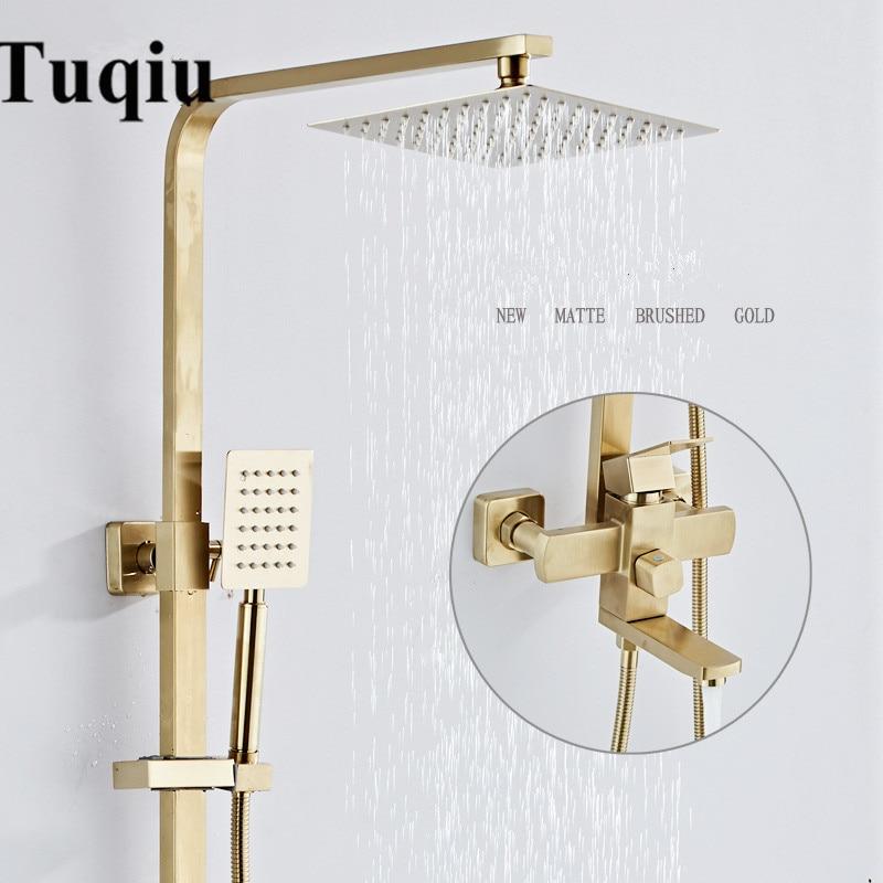 Conjuntos de banho e chuveiro torneira misturadora com torneira da banheira bronze luxo escovado ouro chuvas torneira do chuveiro conjunto torneira da banheira