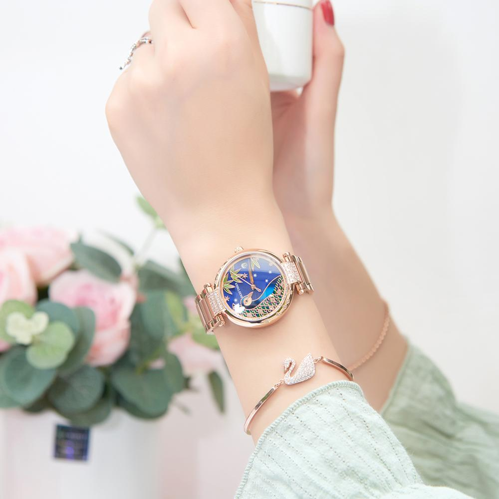 2021 Reef Tiger/RT Top Brand Luxury Women Watch Rose Gold Bracelet Automatic Mechanical Shell Watches Clock RGA1587 enlarge