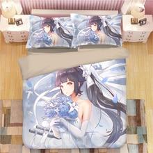 New Fashion Azur Lane soft lovely Bed Linen Set 3D Print Japanese Anime Bedding Set 3PCS Cartoon Microfiber Duvet Cover Set