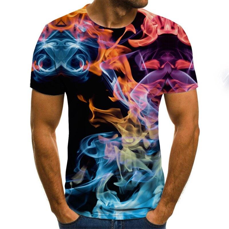 2021 new 3d t shirt Tee Casual Top Camiseta Streatwear Short Sleeve fire print summer tshirt Men's t-shirt XXS-6XL