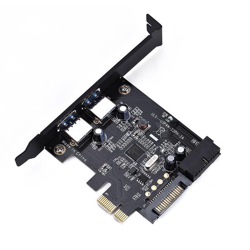 مهايئ بطاقة توسعة بسرعات فائقة PCI-E إلى USB 3.0 19 دبوس 2 منفذ PCI Express موصل SATA 15Pin مع محرك CD لسطح المكتب