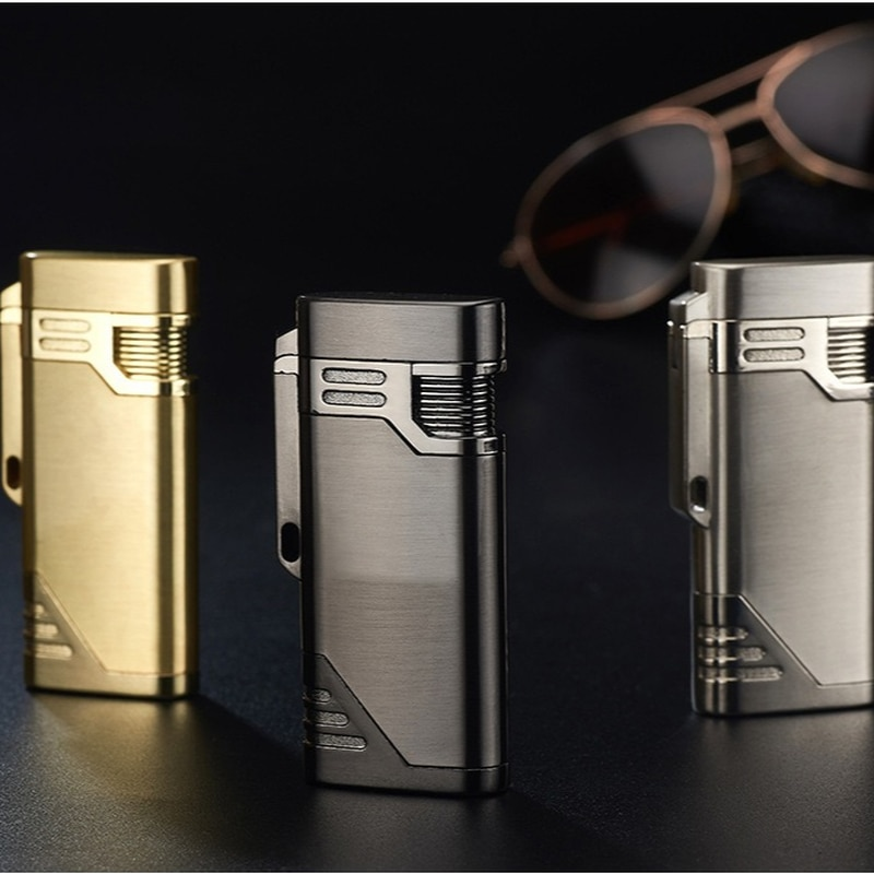 Dual Flame Direct Injection Windproof Lighter Turbojet Metal Butane Unusual Lighter Men's Cigarette Cigar Accessories Gadget Gif