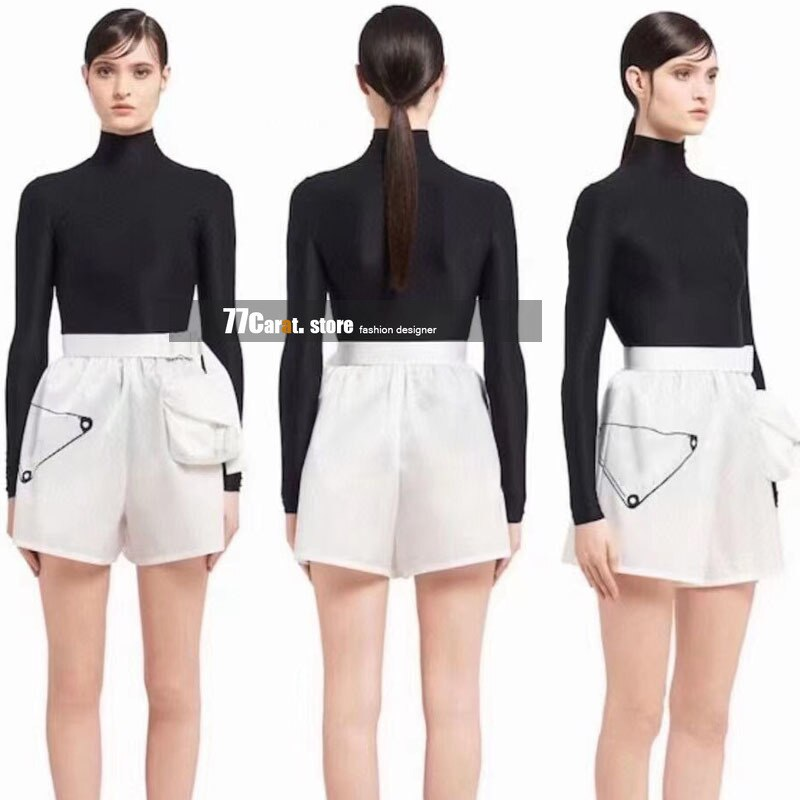 new style fashion women branded clothing womens high quality luxury designer letters printing zipper pockets shorts summer S-L