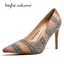 35-40 New Spring Summer Rainbow Gradient Color Pointed Toe Pumps Stiletto Heels 9cm Multi-color Orange Blue Wedding Shoes Pt79-2