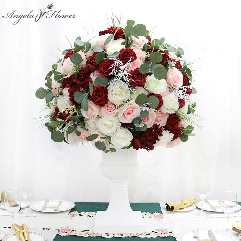 Duży bordowy 3/4 kwiat z jedwabiu piłka bankiet weselny stół do jadalni Centerpieces kwiatowy sztuczny bukiet rekwizyty na przyjęcia dostosuj