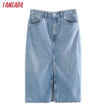 Tangada 2020 femmes solide bleu denim jupe vintage avant ouvert été femme élégant chic jupes 3L31