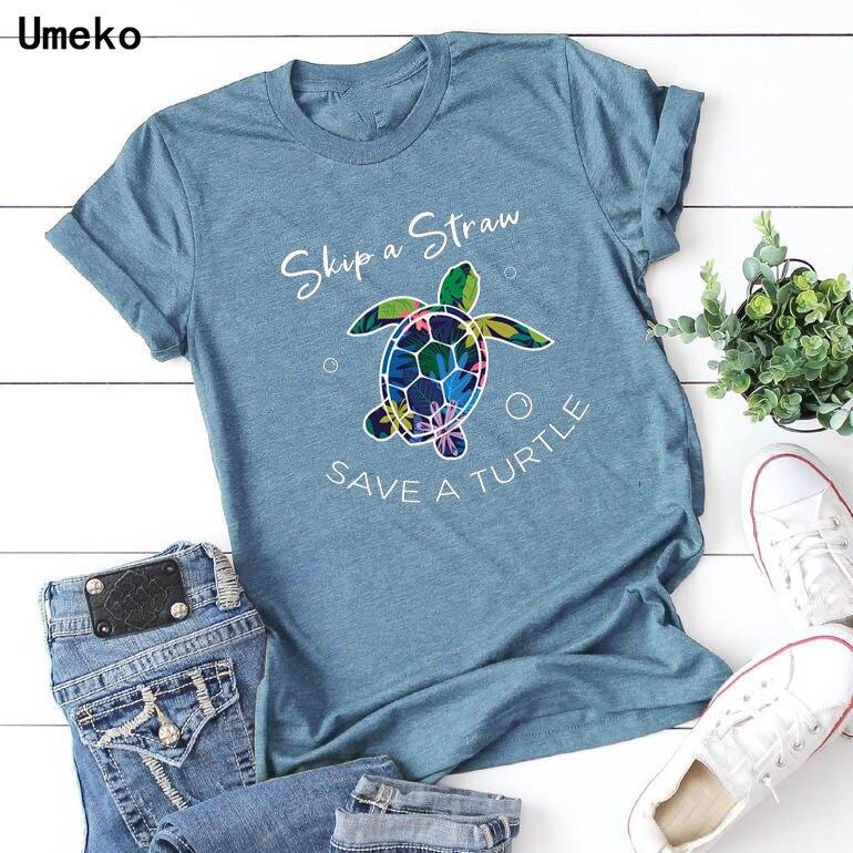 Umeko 2020 verão feminino casual tshirts colorido tartaruga letras imprimir manga curta oneck moda t feminino solto topos roupas