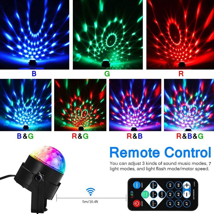 Вращающийся Диско-Шар со звуковой активацией, лазерный проектор, сценический цветной RGB светильник для дома, караоке, бара, диджевечерние НК...
