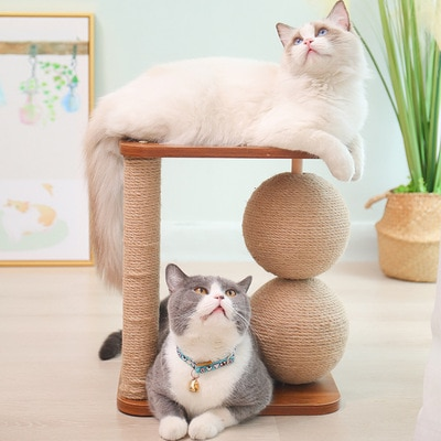 Wooden Double Ball Cat Climbing Frame Simple Cat Scratching Post Cat Scratching Ball Rotating Ball Cat Toy