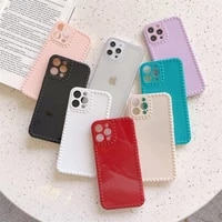 solid candy color photo frame phone case for iphone 11pro 11promax 6 7 8plus xxs 12promax all inclusive pure color back cover