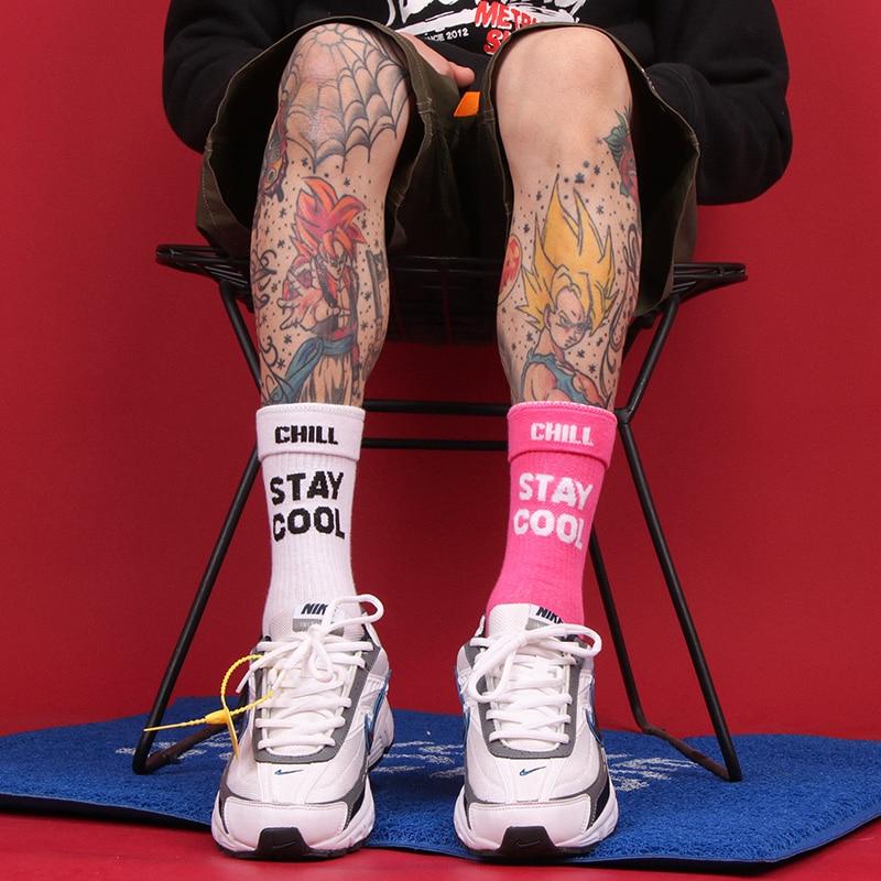 جوارب رجالية ونسائية من Harajuku ، قطن ، هيب هوب ، لوح تزلج ، عصري ، وشم ، لكرة السلة