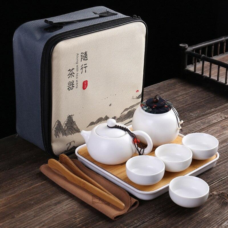 السفر طقم شاي صيني السيراميك الحديثة إبريق الشاي درينكوير الخزف الياباني ساكي المحمولة طقم شاي كوب كوب ماتي teبينة DF50CJ