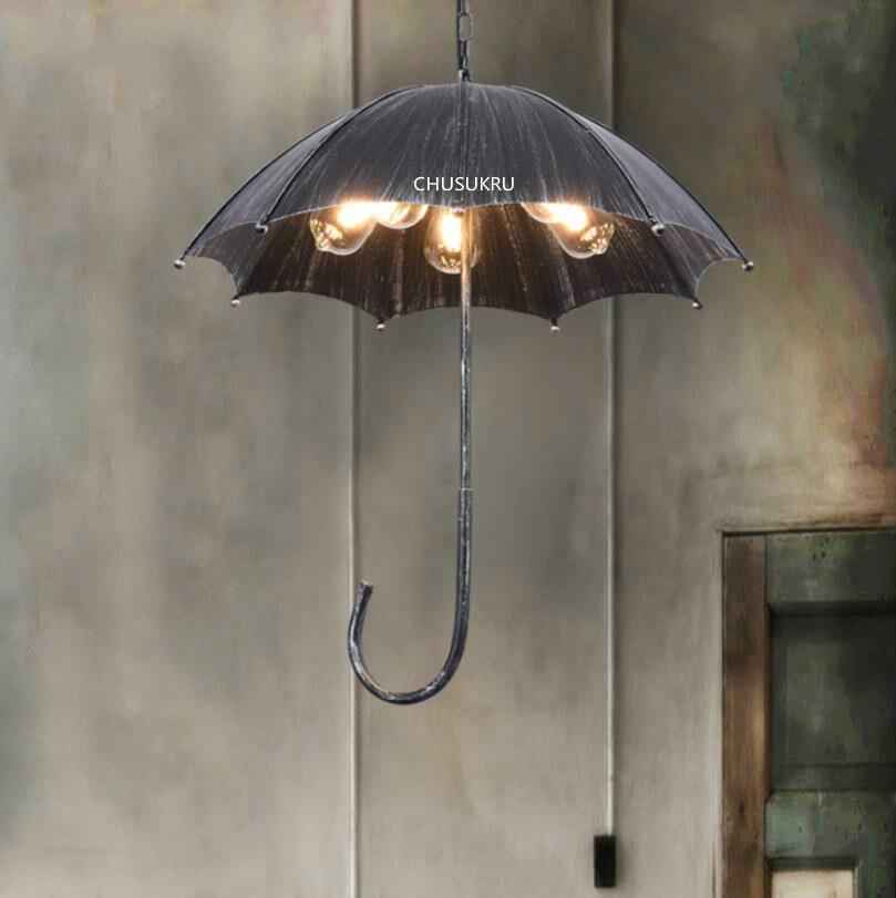 Retro Industrial viento Loft paraguas candelabro nórdico hierro restaurante Bar bombillas LED cadena colgante Metal Vintage perilla interruptor E27