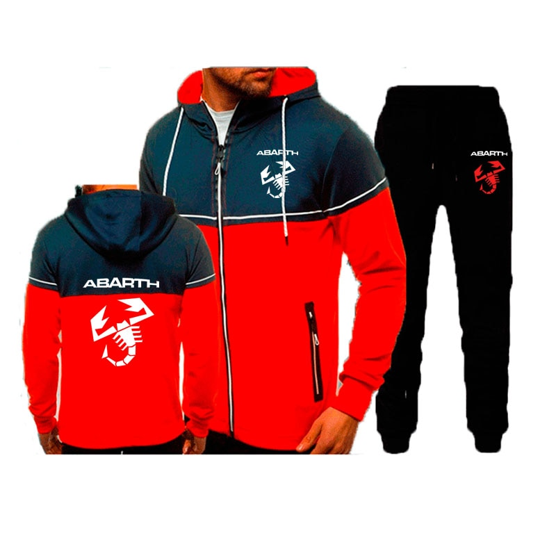 2021New الرجال دعوى Abarth شعار خياطة اللون قلنسوة بسحاب السراويل 2 قطعة مجموعة Hot البيع الربيع الخريف الرجال سترة مجموعة