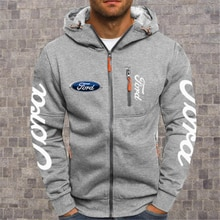 2020NEW Men's Hoodies Ford Mustang Car Logo Print Casual HipHop Black Hooded Fleece Sweatshirts Zipp
