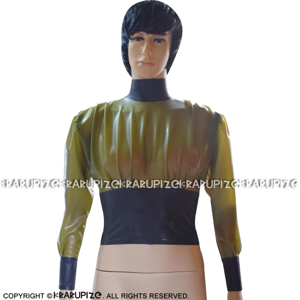 Transparent Green And Black Trims Sexy Short Latex Blouse With Back Zip Rubber Shirt Top Clothes YF-0142
