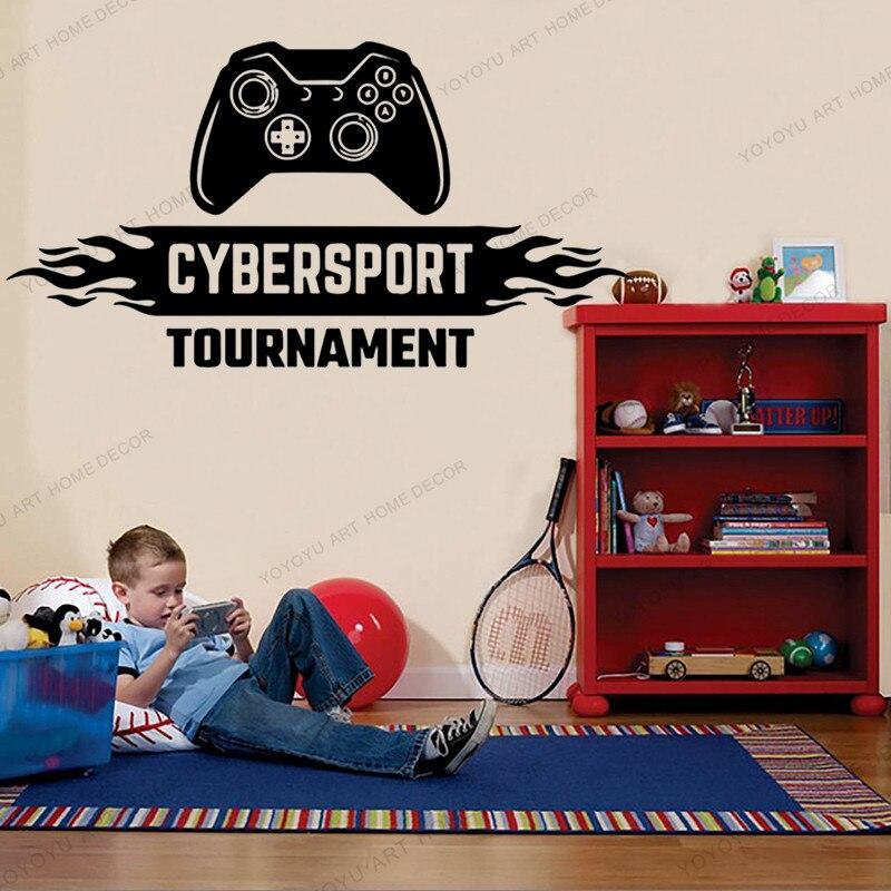 Cybersport torneo Gamer papel pintado adhesivo para pared de juegos controlador video de juego para pared calcomanías para chico dormitorio vinilo decoración de pared wx250
