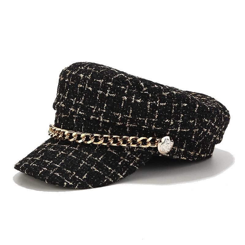 AliExpress - Fashion Brand women hats Tweed plaid newsboy caps chain flat top visor cap vintage plaid military cap female autumn winter hat
