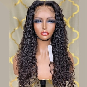 26Inch  Jet Black Color Water Wave Kinky Curly Lace Front Wig For Women Synthetic Natural Hairline Heat Resistance 180%Density