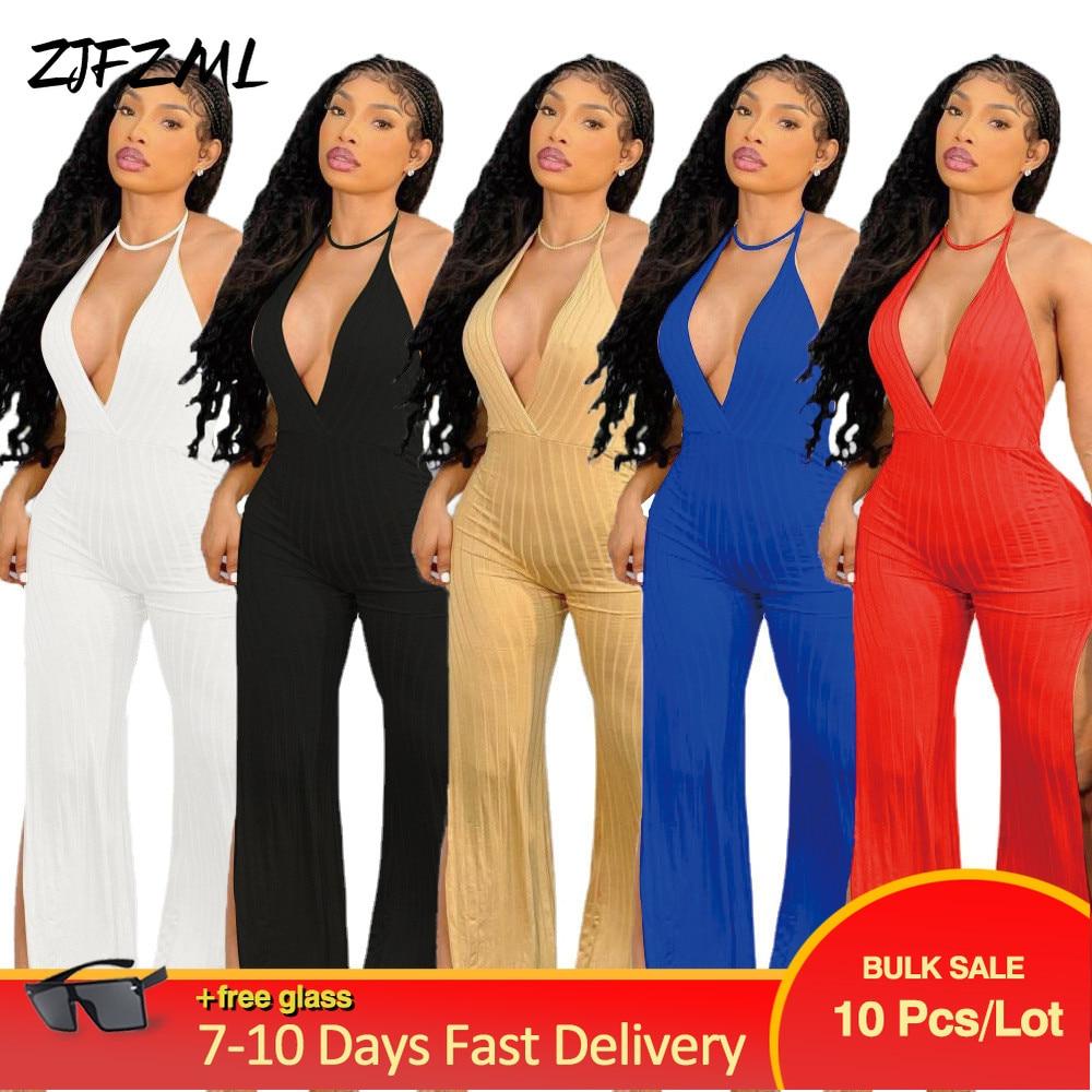 Wholesale Bulk Items Lots Womens Romper Halter Neck Off Shoulder Flare Jumpsuit Elgance Classy Backless Side High Split Outfit