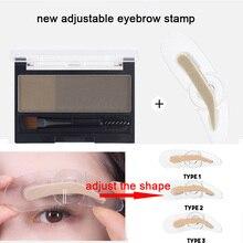 2 Colors Eyebrow Enhancers Powder Makeup Palette Adjustable Eyebrow Stamp with Eye Brow Brush Waterproof Natural Brows Cosmetics