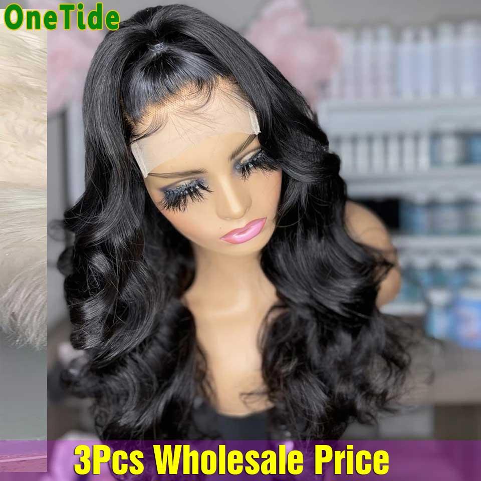 3 шт. ONETIDE оптовая продажа объемная волна Синтетические волосы на кружеве парик бразильский Синтетические волосы на кружеве парик человечес...