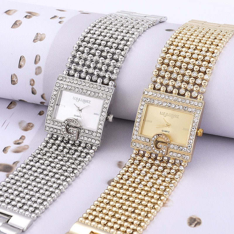 High-quality Top Luxury Fashion Ladies Watch Diamond-studded Stainless Steel Square Dial Band Quartz