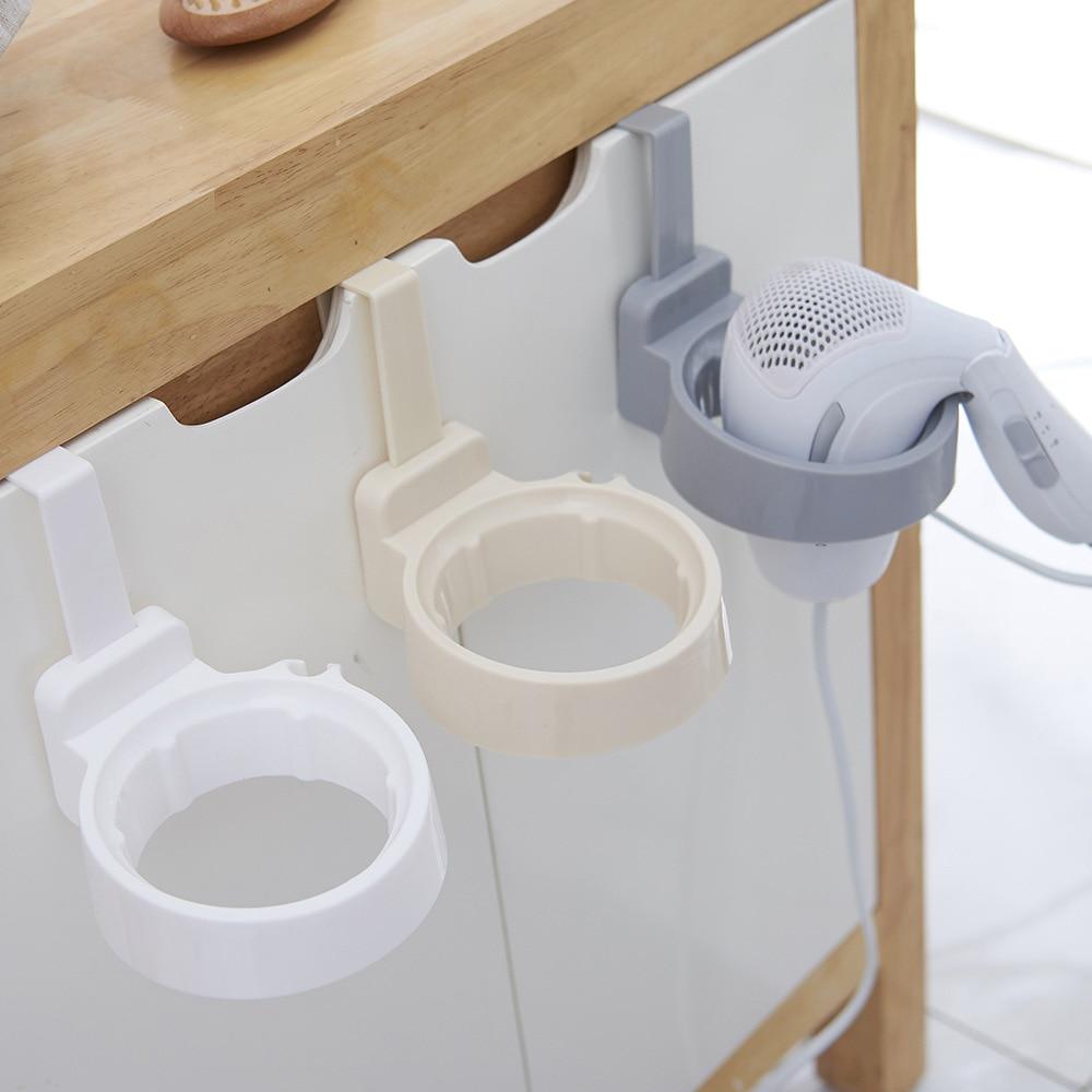 Nuevo soporte para secador de pelo, gancho para puerta, anillo, soporte organizador para secador de pelo de baño, estante de soporte de plástico para el hogar, dormitorio, Hotel