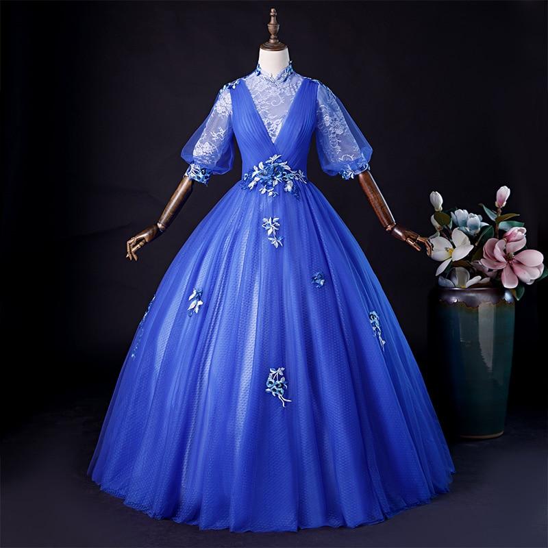 Vestido de bola de encaje de manga azul real de lujo vestido de hadas vestido de la Corte europeo reina belleza victoriana/vestido de baile