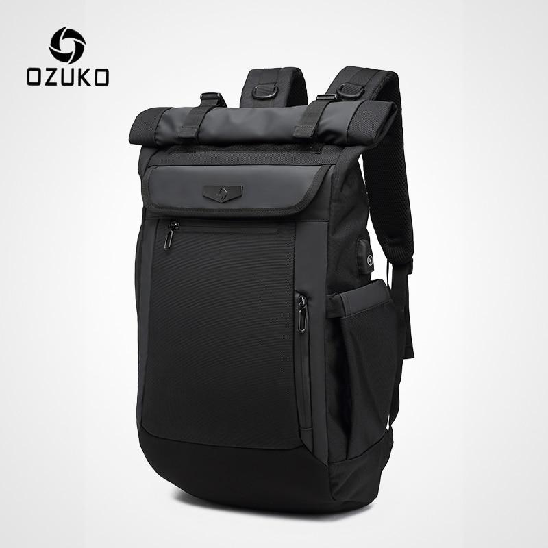 OZUKO حقيبة ظهر مدرسية للرجال في سن المراهقة 15.6 بوصة كمبيوتر محمول حقائب ظهر مضادة للماء أكسفورد حقيبة سفر USB Mochila